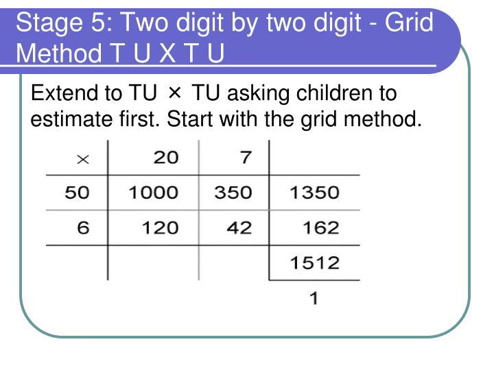 Stage 5: Two digit by two digit - Grid Method T U X T U