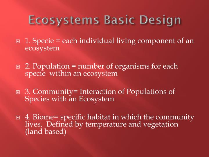 Ecosystems basic design