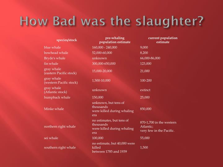 How Bad was the slaughter?