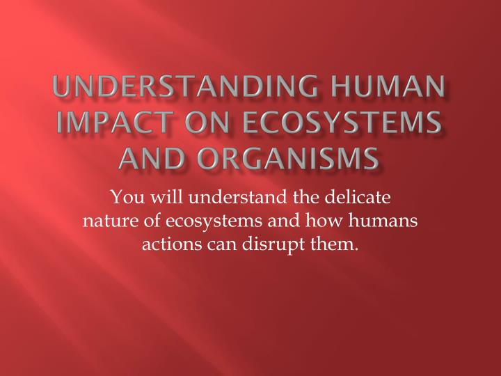 Understanding human impact on ecosystems and organisms