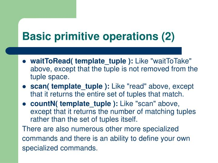 Basic primitive operations (2)
