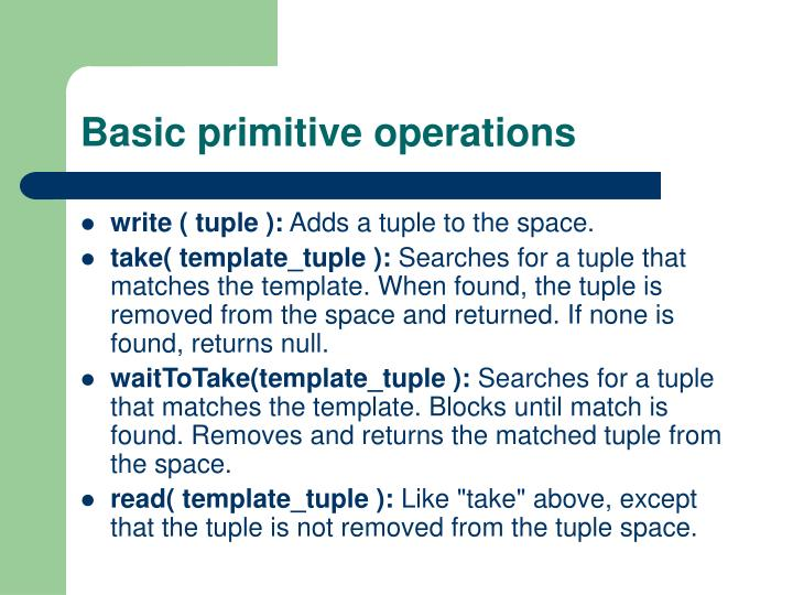 Basic primitive operations
