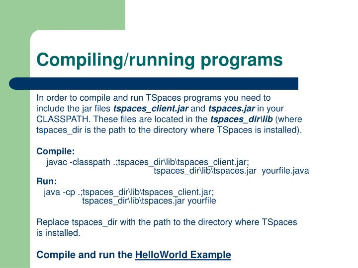 Compiling/running programs
