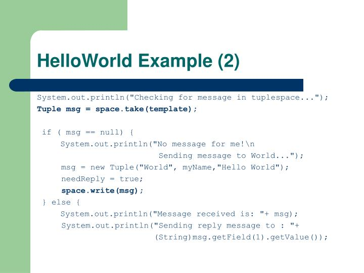 HelloWorld Example (2)