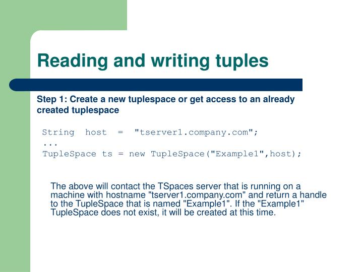 Reading and writing tuples