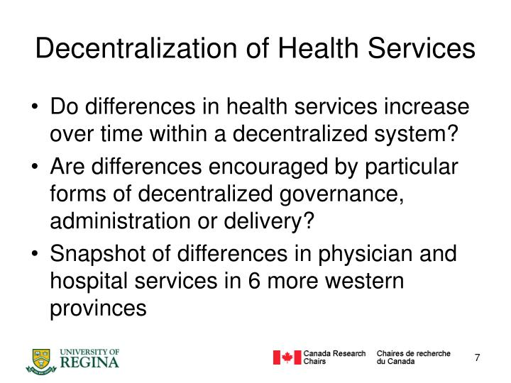 Decentralization of Health Services