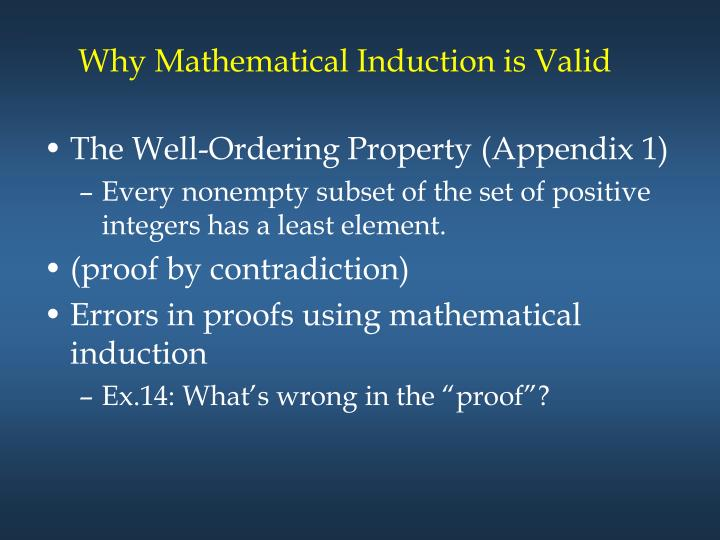 Why Mathematical Induction is Valid