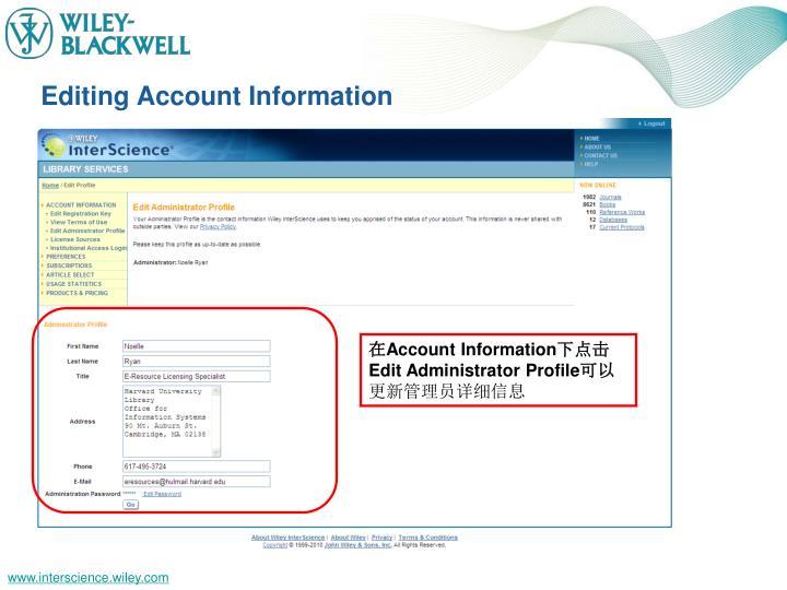 Editing Account Information