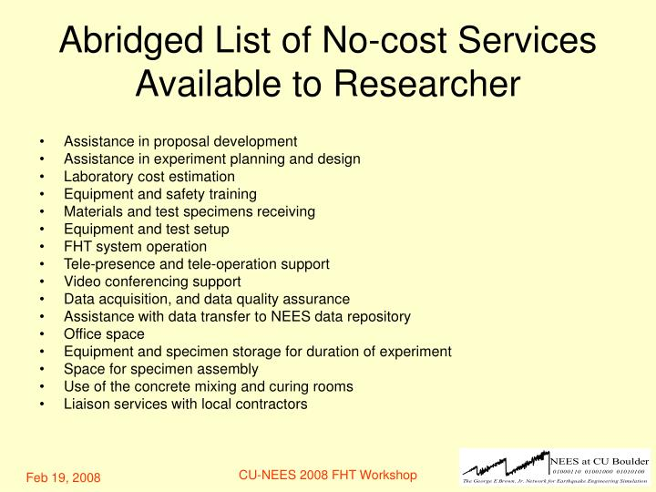 Abridged List of No-cost Services Available to Researcher