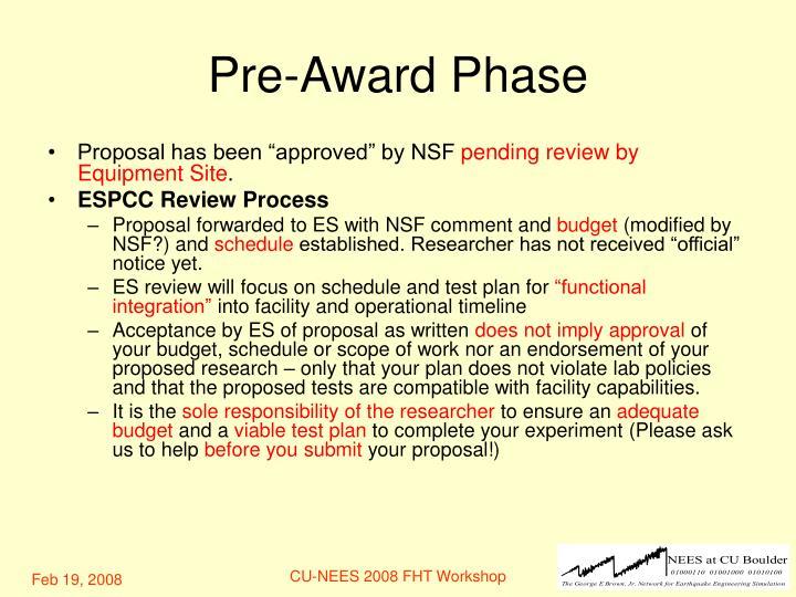 Pre-Award Phase