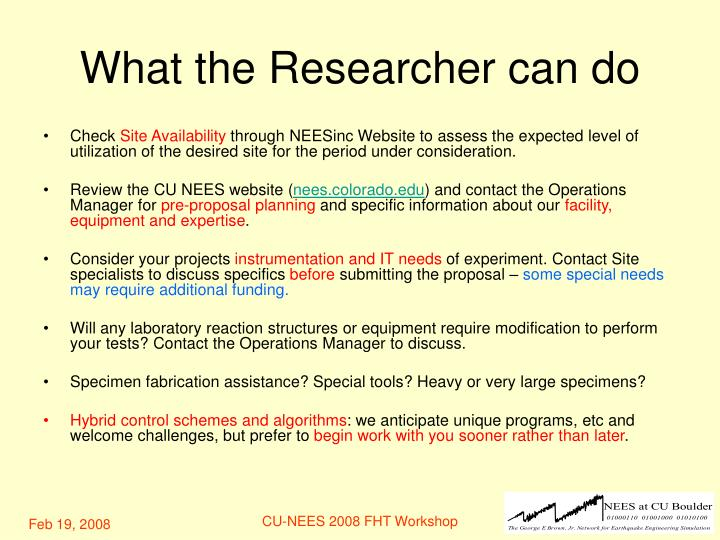 What the Researcher can do