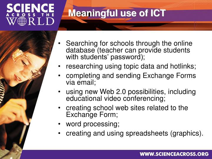 Searching for schools through the online database (teacher can provide students with students' password);