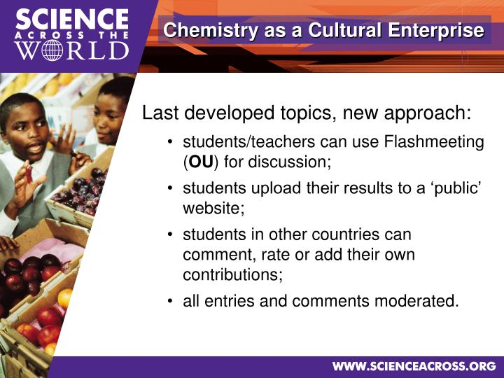 Chemistry as a Cultural Enterprise