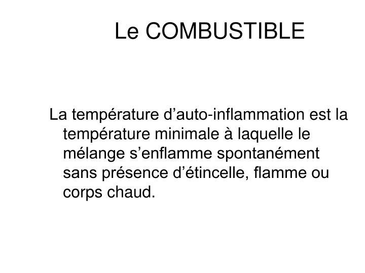 La température d'auto-inflammation est la température minimale à laquelle le mélange s'enflamme spontanément sans présence d'étincelle, flamme ou corps chaud.