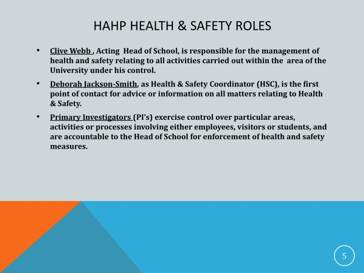 health and safety roles and While health and safety is everyone's responsibility, hr has a role to play.