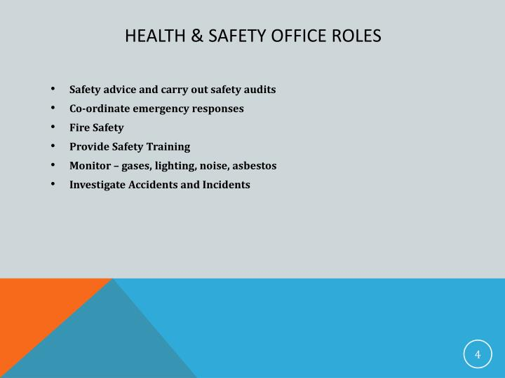 health and safety roles and Workplace health and safety committees wosh specialist training supplemental module 2 factsheet a roles of health and safety committees hazard identification, evaluation, and control.