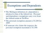 exemptions and dependents