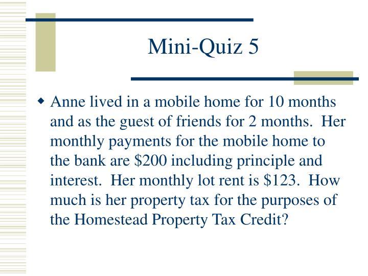 Mini-Quiz 5
