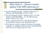 mini quiz 6 answer needs update with 2005 allowances