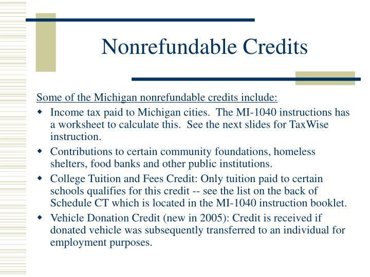 Nonrefundable Credits