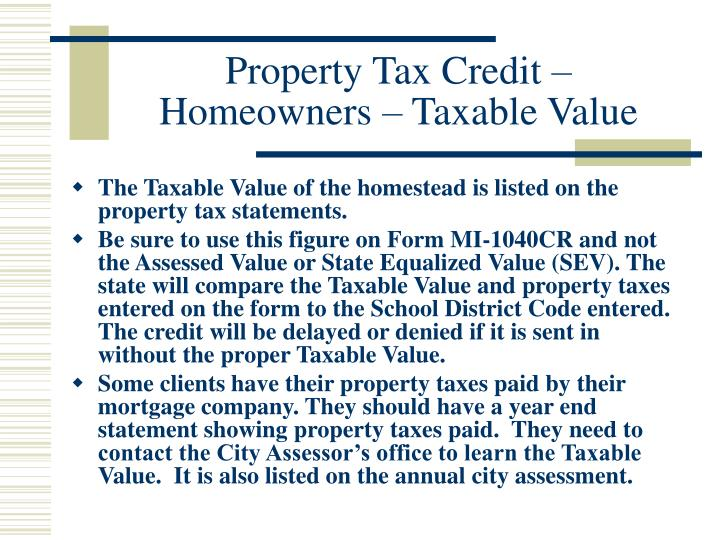 Property Tax Credit – Homeowners – Taxable Value
