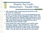 property tax credit homeowners taxable value