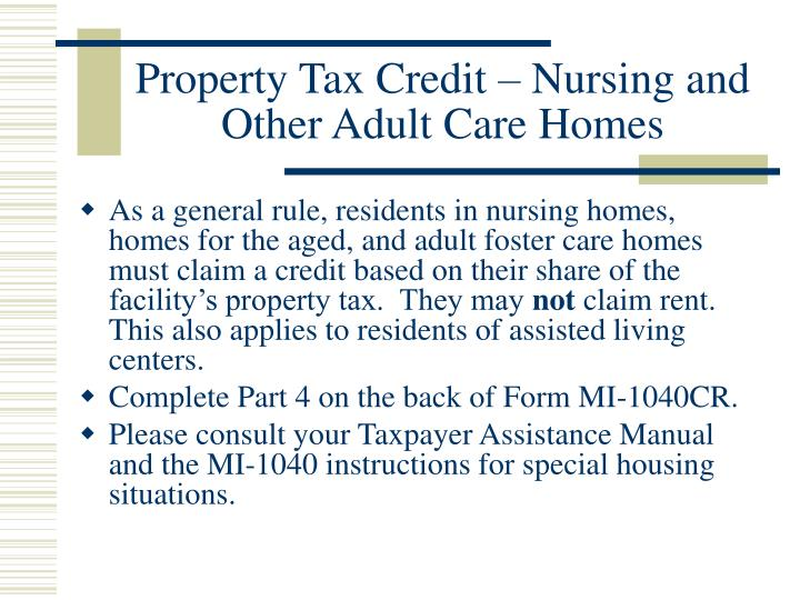 Property Tax Credit – Nursing and Other Adult Care Homes