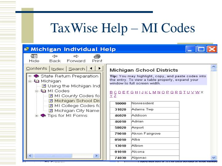 TaxWise Help – MI Codes