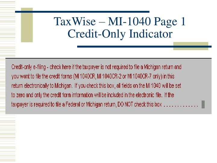 TaxWise – MI-1040 Page 1