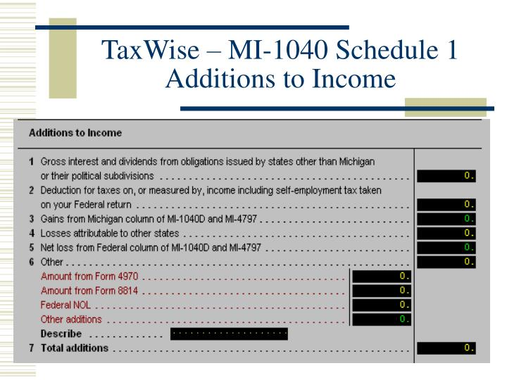 TaxWise – MI-1040 Schedule 1 Additions to Income