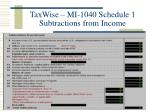 taxwise mi 1040 schedule 1 subtractions from income