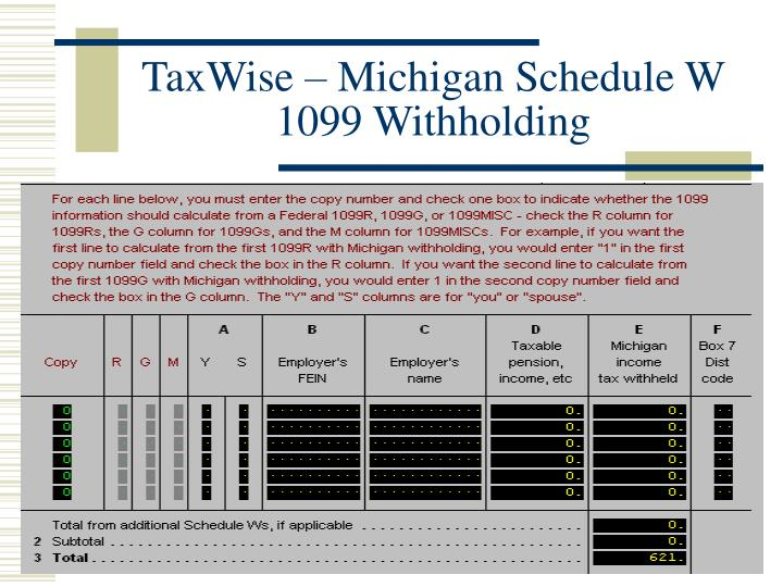 TaxWise – Michigan Schedule W 1099 Withholding
