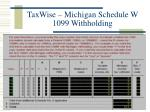 taxwise michigan schedule w 1099 withholding