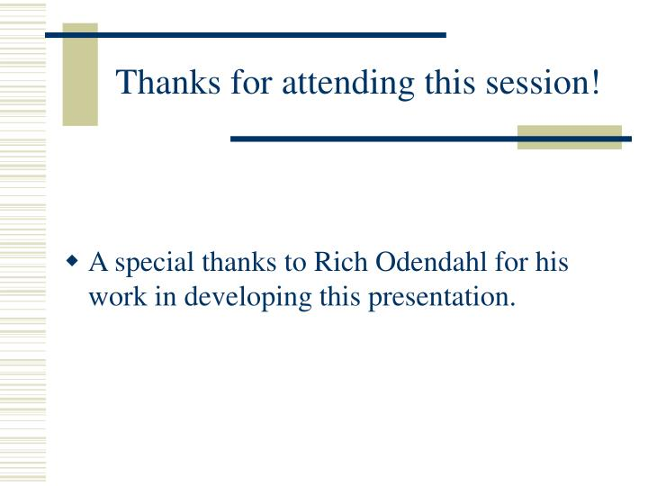Thanks for attending this session!