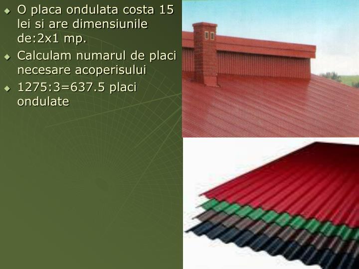 O placa ondulata costa 15 lei si are dimensiunile de:2x1 mp.