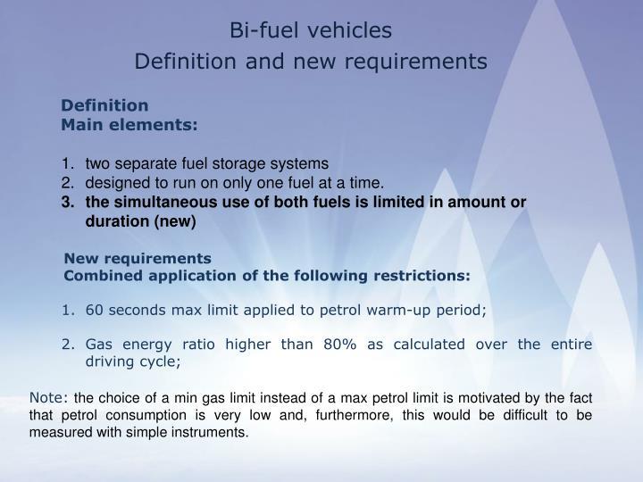 Bi-fuel vehicles