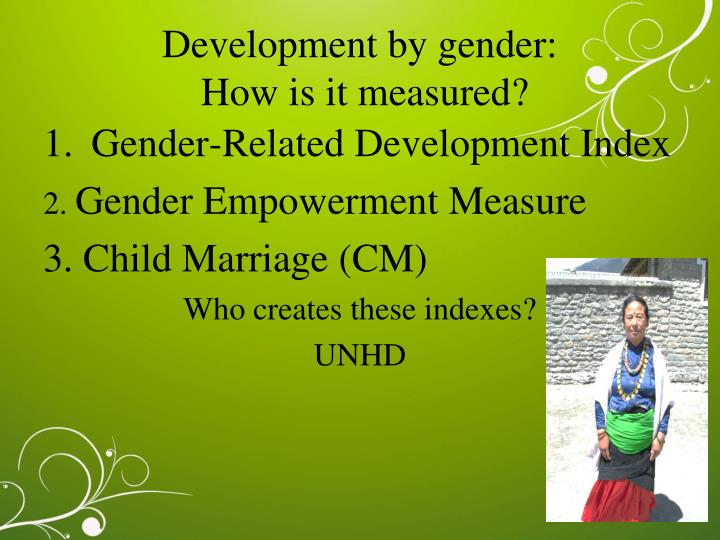 Development by gender: