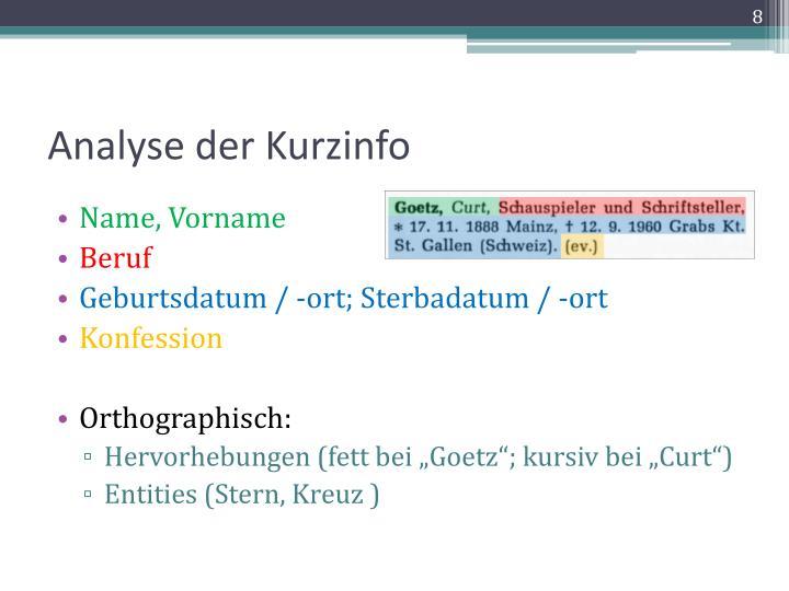Analyse der Kurzinfo