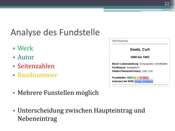 Analyse des Fundstelle