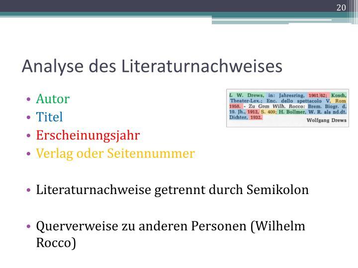 Analyse des Literaturnachweises