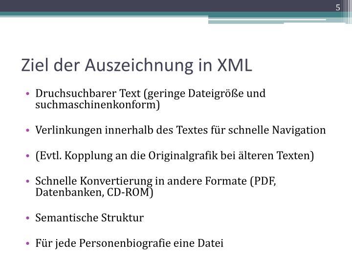 Ziel der Auszeichnung in XML