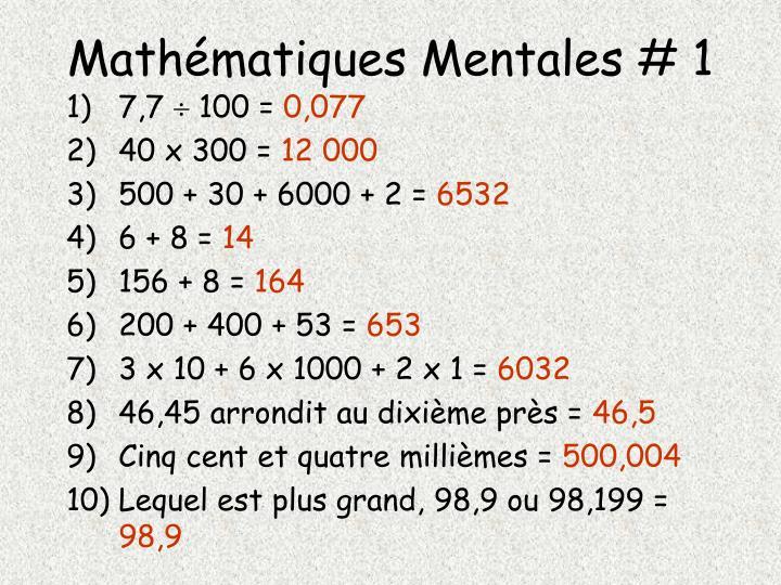 Mathématiques Mentales # 1