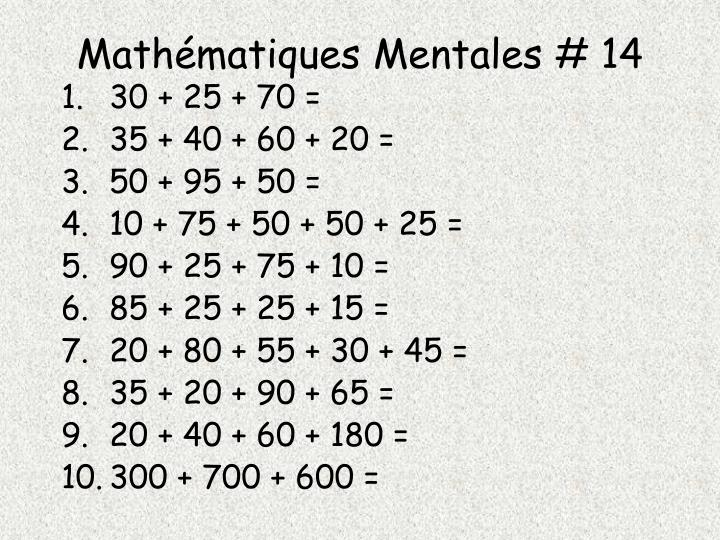 Mathématiques Mentales