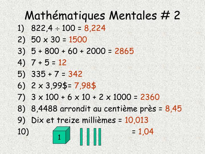 Mathématiques Mentales # 2