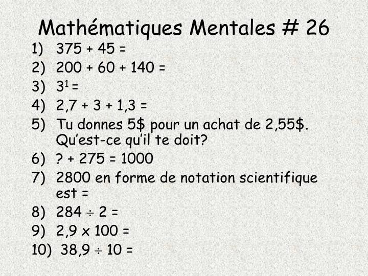 Mathématiques Mentales # 26