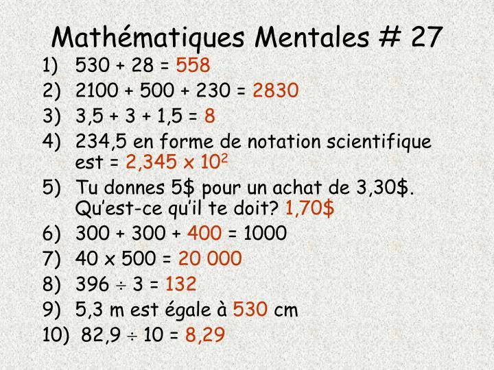Mathématiques Mentales # 27