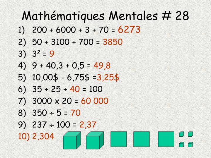 Mathématiques Mentales # 28