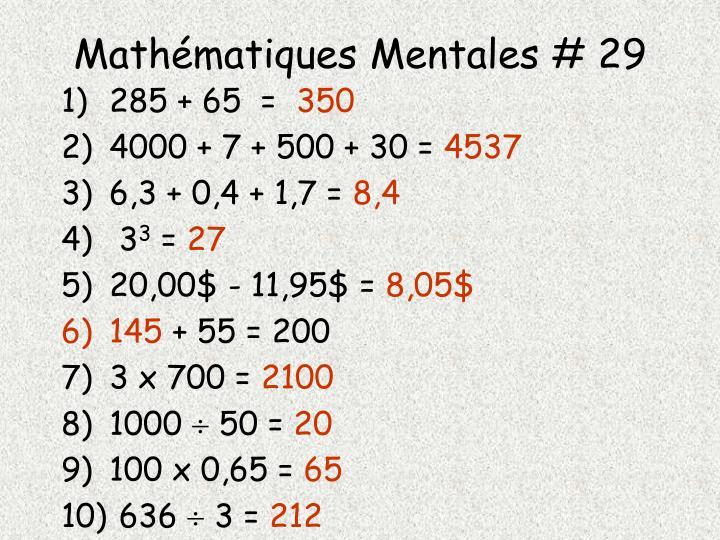 Mathématiques Mentales # 29