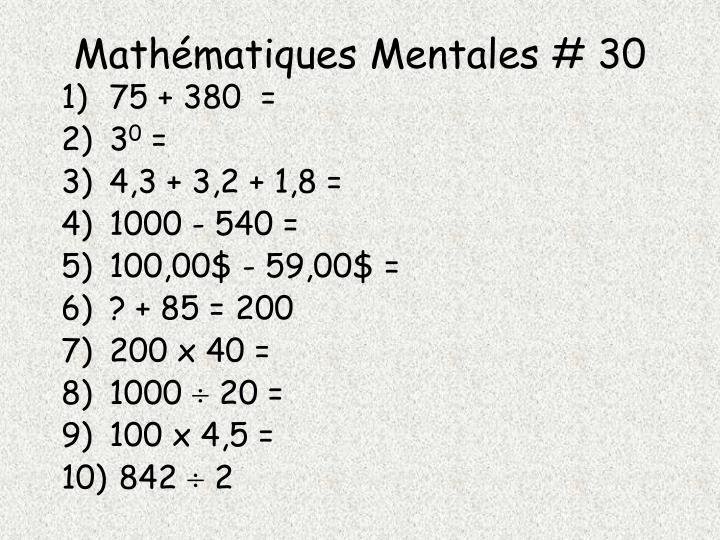 Mathématiques Mentales # 30