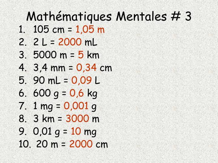 Mathématiques Mentales # 3